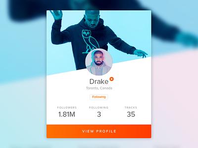 User Profile Card user profile user soundcloud ui design ui drake dailyui