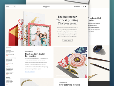 PAPER Education paperless post ui web design
