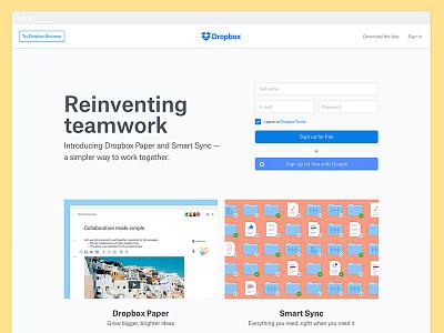Dropbox Homepage web dropbox desktop web design