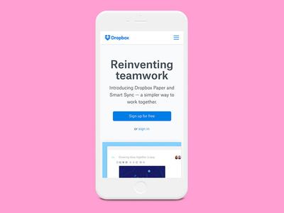 Dropbox Homepage Mobile