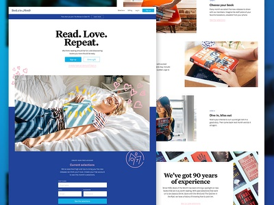 BOTM Homepage paper stacking branding book of the month web design