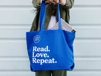 BOTM Tote product physical books blue tote bag