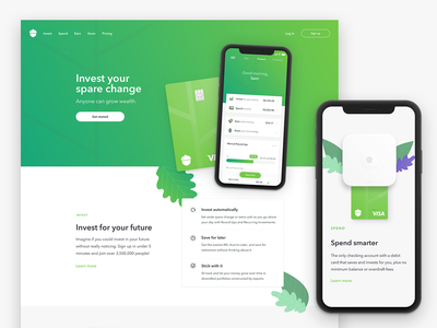 Acorns Homepage 3.0 investing fintech mobile desktop website