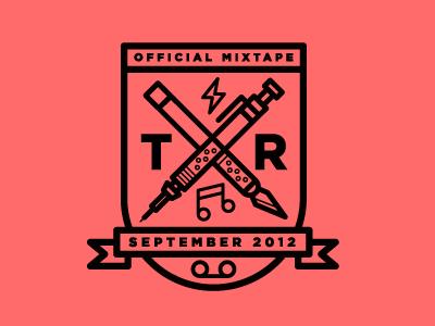 Mixtape Badge designers.mx badge seal crest shield xacto pen pencil knife mixtape music
