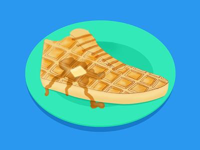 Belgium Served belgian waffle bright colors graphic design illustrator photoshop vector waffle illustration