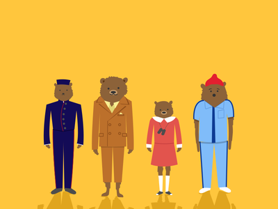 Your Own Wes Anderson Film lobby boy the grand budapest hotel moonrise kingdom fantastic mr fox a life aquatic characters personification vector bears costumes wes anderson illustration