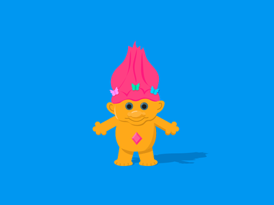 Troll detail toy solid background bright colors 90s nostalgia troll illustration vector