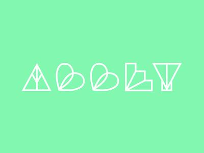 ABBEY seashell hearts art deco inspired seafoam green art direction illustration graphic design branding typography lettering