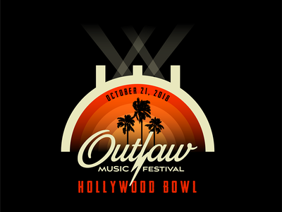 Outlaw Music Festival at the Hollywood Bowl music hollywood hollywood bowl palm trees outlaw outlaw music festival los angeles vector illustration graphic design