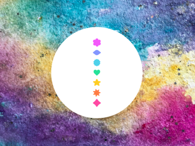 Chakras bright yoga chakras icons texture watercolor painting graphic design branding