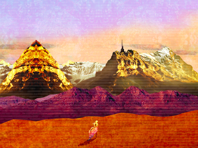 Nevertheless, She Persisted psychedelic landscape fantasy illustration photoshop collage graphic design digital art