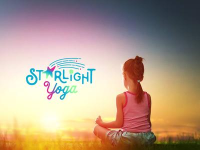 Starlight Yoga Branding children art playful children lettering typography logo yoga vector branding graphic design illustration