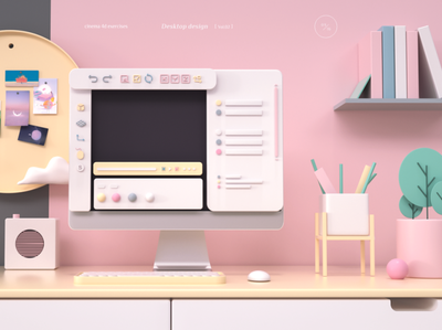 桌面设计 c4d design web ui illustration