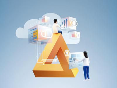 Mobia - Analytics sky 3d art web design web hacker security cloud computing interaction cybersecurity inspiration design ux ui design branding brand design app illustration 3d