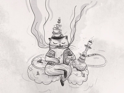 Hoocat hellodribble character fairytale tale smoke cat illustration