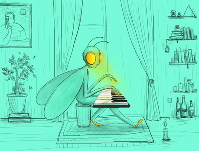 My little world vector hellodribble illlustrator yellow musician music piano melancholic mini illustration artist bee fairytale character