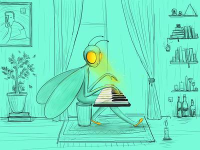 My little world vector hellodribble illlustrator yellow musician music piano melancholic mini illustration artist bee fairytale character