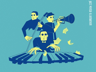 Jazzy jazz music character illustration