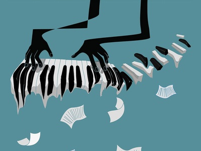 Piano player musician notes jazz piano music illustration