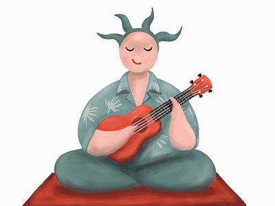 Ukulele player musician summer ukulele music character illustration