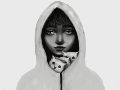 Spirit animal musician girl kitten cat fairytale character illustration