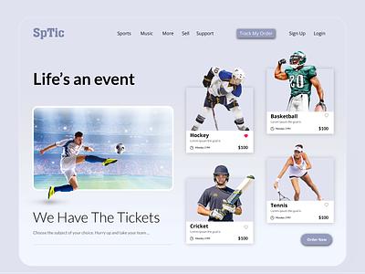 Sports Ticket Landing Page UI Design illustrator graphic design branding website flat icon web design logo ui illustration