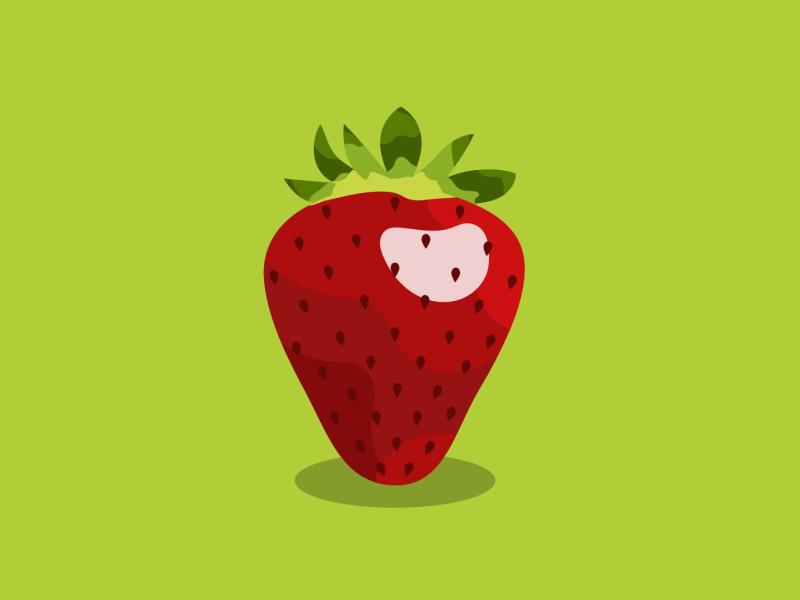 Strawberry Illustration strawberry fruit red green colors drawing illustration art vector vectorart minimalism digital illustrator adobe illustrator design graphic graphic design