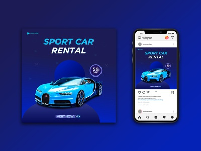 Social Media Sport Car Ad type graphic design icon illustrator minimal vector branding logo design illustration