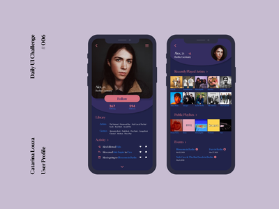 Daily UI Challenge #006 profile page app daily ui dailyui 006 dailyuichallenge dailyui
