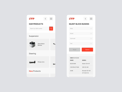 [WIP] Auto Parts Manufacturer auto parts ux design mobile ui