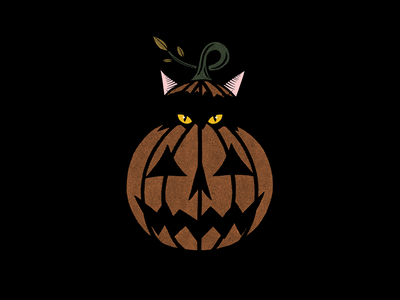 PUMPKIN THE CAT texture halftone halloween jack o lantern pumpkin blackcat tattoo minimal merch design logo illustration design