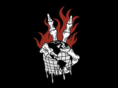 GET ME OUTTA HERE melting earth fire skeleton skull tattoo minimal merch design logo illustration design