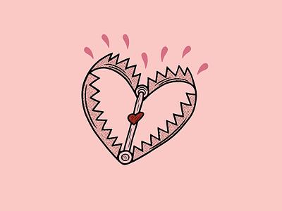 LOVE TRAP texture pink heart tattoo minimal merch design logo illustration design