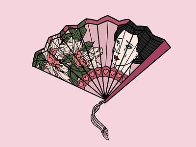ONCE LOVED geisha japanese peony fan heart sad tattoo minimal merch design logo illustration design