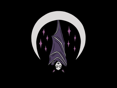 GOODNIGHT nightsky stars bat moon tattoo minimal merch design logo illustration design