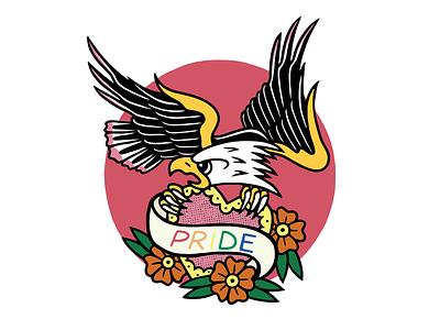 PRIDE EAGLE flowers pride eagle texture heart tattoo minimal merch design logo illustration design