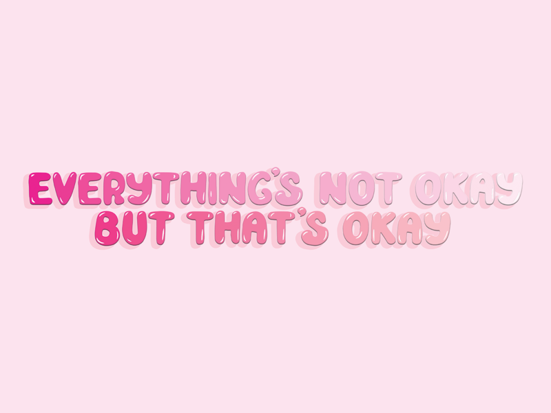 NOT OKAY typography bubbly pink lettering typedesign type branding design