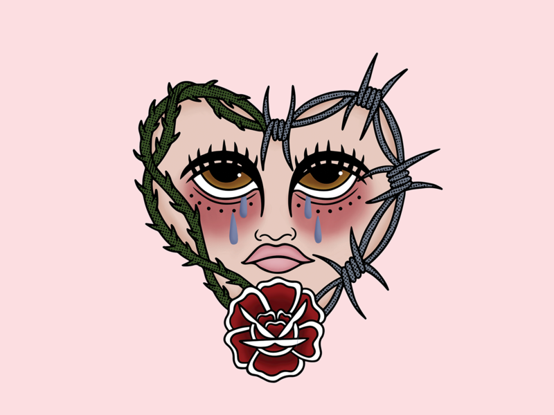 LOVE HURTS II thorns barbed wire rose sad pink texture heart tattoo minimal merch design logo illustration design