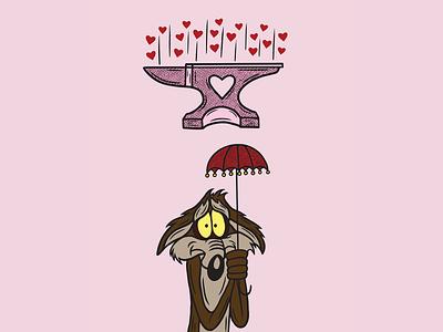 WILE E COYOTE UNLUCKY cartoon wileecoyote anvil pink texture heart merch design logo illustration design