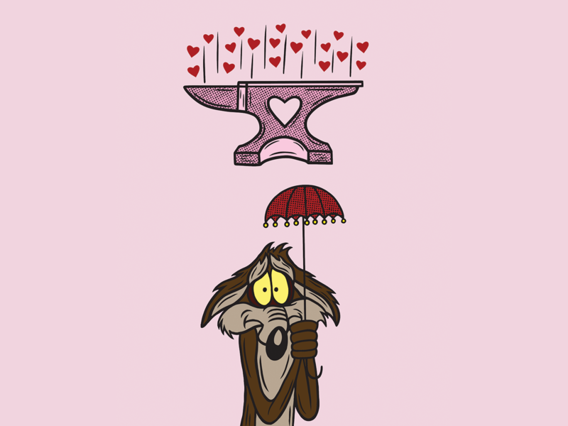 WILE E COYOTE UNLUCKY cartoon wileecoyote anvil pink texture heart merch design logo illustration design