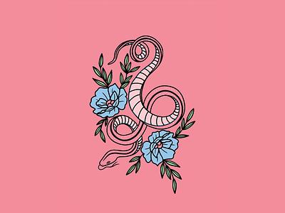 FLORAL SNAKE snake pink tattoo minimal merch design logo illustration design
