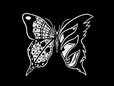 DEATHMOTH butterfly moth skull texture tattoo minimal merch design logo illustration design