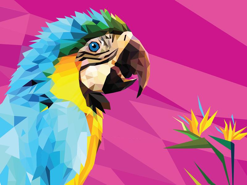 Parrot design полигональная иллюстрация птица попугай персонаж иллюстрация векторная графика вектор