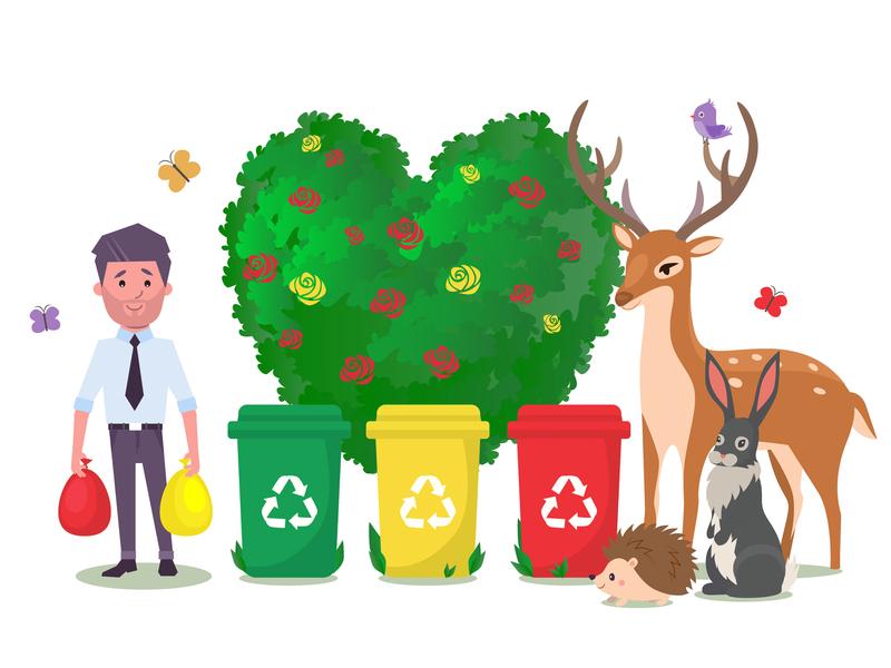 Garbage sorting заяц олень ежик мусорный бак бабочки деревья цветы мусор звери design персонаж иллюстрация векторная графика вектор эко сортировка мусора