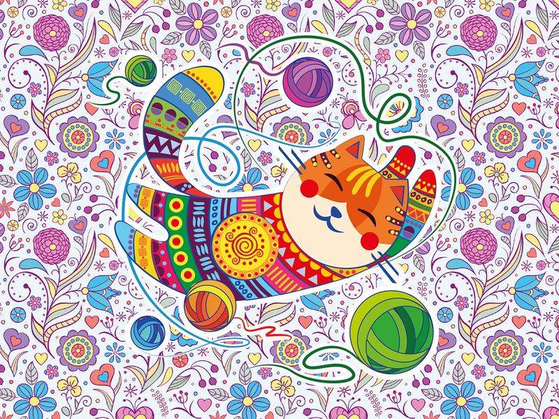Funny Cat цветы нитки узор design персонаж векторная графика вектор иллюстрация смешной кот кот