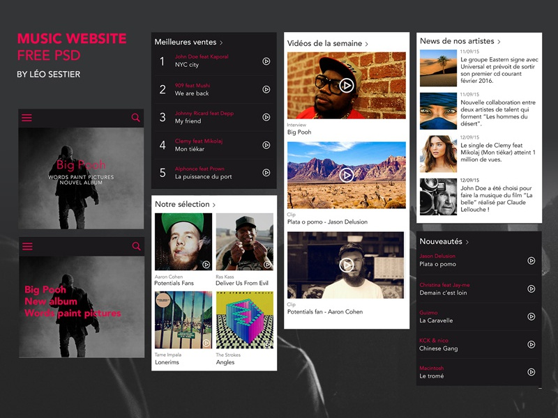 Music website - Free PSD template website mobile gobelins ui ux news charts free template psd music free psd