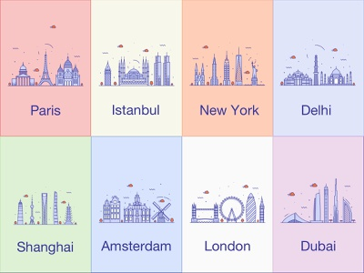 Cities america europe asia ui colorful minimalist logo minimalism minimal logo design citizen dubai london amsterdam shanghai delhi new york istanbul paris cities