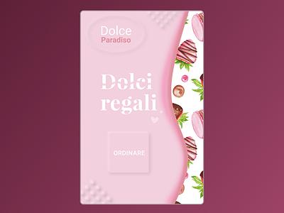 Dolce pink home screen ui strawberry italian italian design chocolate gifts giftshop web design figma