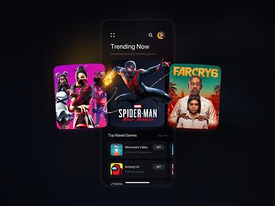 Gaming App Exploration gaming app mobile ui ux ui