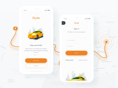 Ryde App - Login iphone x walkthrough login ux ui debut